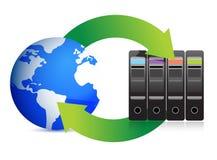 Серверы и глобус â принципиальной схемы сети Стоковые Фото