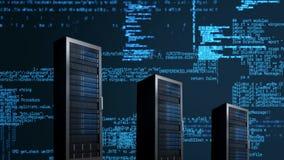 серверы и данные с голубыми линиями кода иллюстрация штока