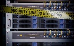 Серверы и концепция безопасностью компьютерной технологии комнаты оборудования иллюстрация вектора