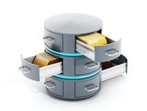 Сервер данных с шкафами открытого файла иллюстрация 3d бесплатная иллюстрация
