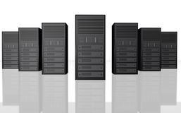сервер иллюстрации фермы компьютера 3d Стоковые Изображения RF