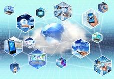 Сервер и данные по облака интернета technolgy стоковое изображение rf