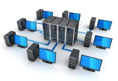 Сервер и подключает компьютеры, интернет концепции Стоковые Изображения RF