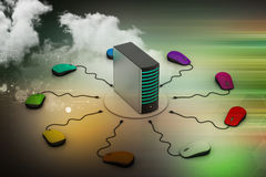 Сервер компьютера соединенный мышью Стоковое Изображение