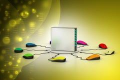 Сервер компьютера соединенный мышью Стоковая Фотография RF