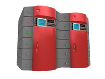 сервер красного цвета 3d иллюстрация штока
