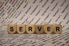 Сервер - куб с письмами и словами от компьютера, програмным обеспечением, категориями интернета, деревянными кубами стоковое фото rf