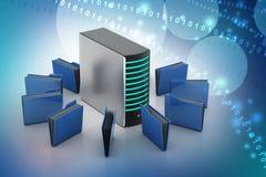 Сервер с папкой файла Стоковое Изображение RF