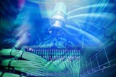 Сервер, тональнозвуковой кабель, акустический крупный план кабелей Стоковое Изображение