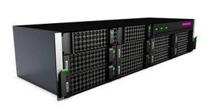 сервер черноты 3d на белой предпосылке Стоковое фото RF