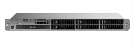 Сервер 1U для устанавливать с шкафом 19 дюймов с 6 2 жесткие диски 5-inch и оптически привод иллюстрация штока