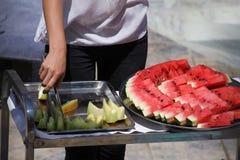 Сервировка воды и сладостной дыни Стоковое Фото