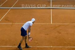Сервировка Джонсона Стива в спичке против СЕРБИИ, Davis Cup 2018, Nis, Стоковое Изображение RF