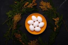 Сервировка стола пасхи с белыми яичками с изображением селективного фокуса цветка мимозы пасха счастливая Стоковое Изображение RF