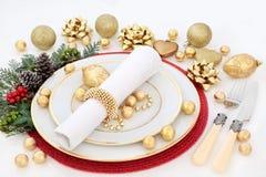 Сервировка стола рождественского ужина Стоковые Изображения