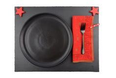 Сервировка стола Christmassy с сланцем Стоковая Фотография