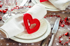 Сервировка стола дня валентинки Стоковая Фотография