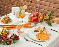 Сервировка стола праздника рождества и Нового Года Стоковая Фотография