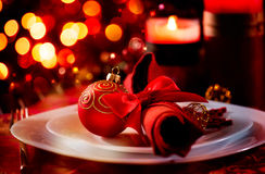 Сервировка стола праздника рождества Стоковые Фото