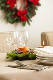 Сервировка стола рождественского ужина стоковая фотография rf