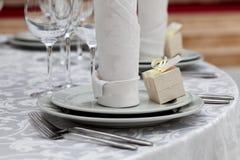 Сервировка стола свадьбы обедающего Стоковые Изображения