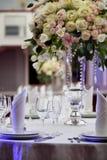 Сервировка стола свадьбы обедающего Стоковое фото RF
