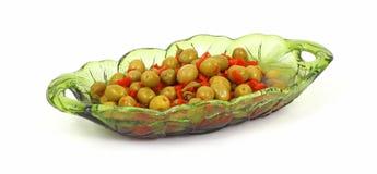 сервировка тарелки сделанная ямки оливками Стоковое Изображение RF