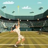 Сервировка теннисиста на турнире для выигрывать Стоковая Фотография