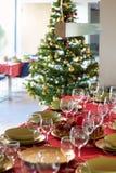 Сервировки стола на обед рождества стоковые изображения rf