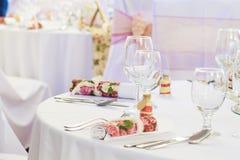 Сервировки стола свадьбы Стоковые Изображения RF