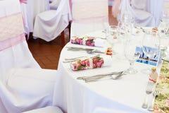 Сервировки стола свадьбы Стоковое Изображение