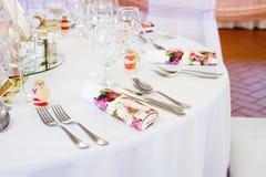 Сервировки стола свадьбы Стоковое Фото