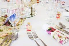 Сервировки стола свадьбы Стоковые Изображения