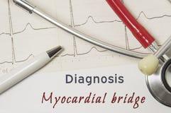Сердечный диагноз миокардиального моста На докторе рабочее место бумажная медицинская документация, которая показала диагноз миок Стоковые Изображения RF