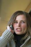 сердитая говоря женщина Стоковое Изображение