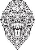 сердитая горилла изолировано Страница расцветки Бесплатная Иллюстрация