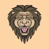 Сердитая иллюстрация логотипа головы льва Стоковые Фото