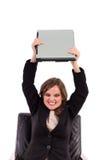 Сердитая коммерсантка бросая ее компьтер-книжку Стоковая Фотография RF