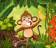 Сердитая обезьяна в предпосылке джунглей иллюстрация вектора