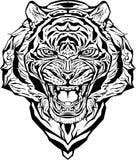 1 сердитая черная белизна версии тигра halftone цвета 2 изолировано Страница расцветки Иллюстрация вектора