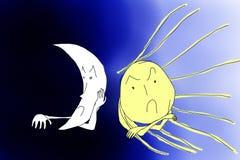 Сердитое Солнце против сердитой луны стоковые фото