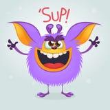 Сердитое фиолетовое gremlin изверга шаржа выкрикивая с большим ртом Иллюстрация вектора Halloween иллюстрация вектора