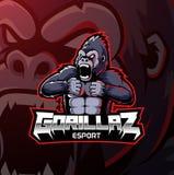 Сердитое desain логотипа талисмана гориллы бесплатная иллюстрация