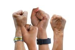 Сердитые кулаки владением на белой предпосылке Стоковые Фото