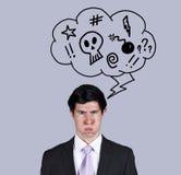 сердитые мысли бизнесмена Стоковые Фото