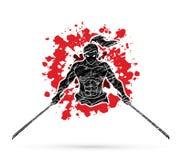 Сердитые самураи стоя с вид спереди шпаг подписывают графический вектор иллюстрация вектора