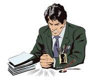 Сердитый бизнесмен стучает на таблице с его запасом кулака Стоковая Фотография RF