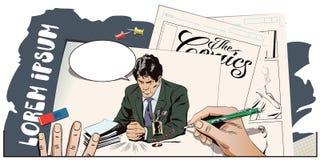 Сердитый бизнесмен стучает на таблице с его кулаком Стоковое Изображение