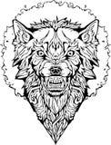 Сердитый волк в рамке изолировано Страница расцветки Бесплатная Иллюстрация