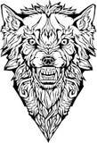 сердитый волк изолировано Страница расцветки Иллюстрация штока